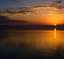 Winter sunset from Monte del Lago, Lago Trasimeno, Umbria by Andrew Jones
