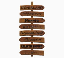 Fictional Places Signpost by Emluvzhorses