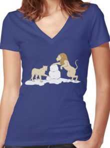 Snow Lions Women's Fitted V-Neck T-Shirt