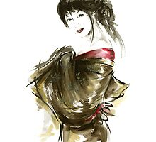 Geisha Gold Kimono Japanese woman black hair jewerly sumi-e original painting art print by Mariusz Szmerdt