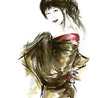 Geisha Gold Kimono Japanese woman black hair jewerly sumi-e original painting art print by Mariusz Szmerdt
