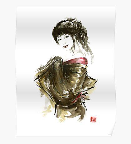 Geisha Gold Kimono Japanese woman black hair jewerly sumi-e original painting art print Poster