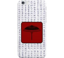Japanese Kanji with Red Laquer Umbrella iPhone Case/Skin