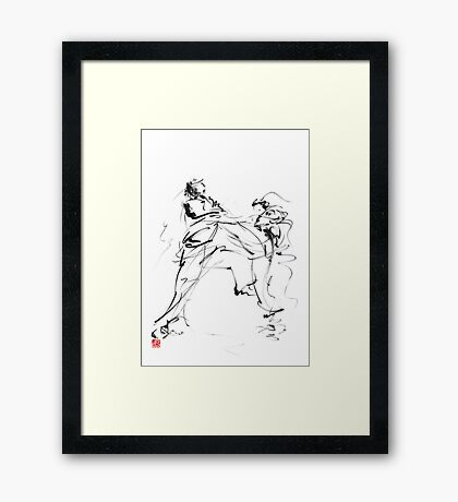 Karate martial arts kyokushinkai japanese kick oyama ko knock out japan ink sumi-e Framed Print