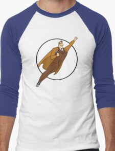 Tenth Doctor as Cartoon Superman Men's Baseball ¾ T-Shirt