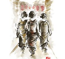 Geisha Japanese woman women in kimono walking on street run rain project design original Japan painting art by Mariusz Szmerdt