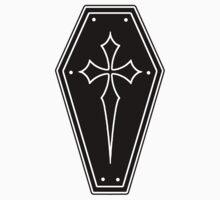 Gothic Coffin Sticker, hearse, Coffin shape sticker, casket ,Cross sticker, black coffin, dead , crucifix sticker, by ScreamingDemons