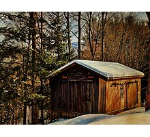 Winter Barn on the Mountain Photographic Print