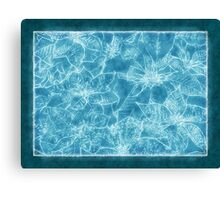 Mixed color Poinsettias 1 Outlined Blue Canvas Print