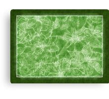 Mixed color Poinsettias 1 Outlined Green Canvas Print