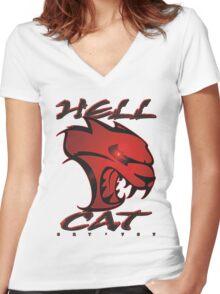 Hellcat Glare Women's Fitted V-Neck T-Shirt