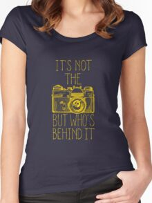 Camera yellow ink Women's Fitted Scoop T-Shirt