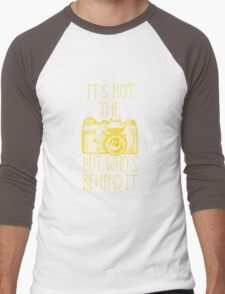 Camera yellow ink Men's Baseball ¾ T-Shirt