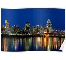 Cincinnati skyline at twilight Poster