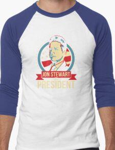Jon Stewart for President  Men's Baseball ¾ T-Shirt