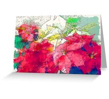 Mixed color Poinsettias 3 Serene Greeting Card