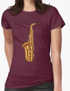 Golden Saxophone Womens Fitted T-Shirt