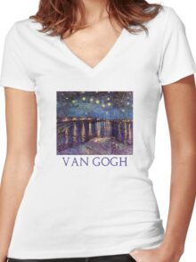 Starry Night Over the Rhone by Vincent Van Gogh Women's Fitted V-Neck T-Shirt