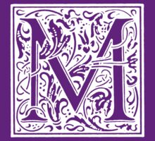 William Morris Renaissance Style Cloister Alphabet Letter M by Pixelchicken