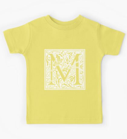 William Morris Renaissance Style Cloister Alphabet Letter M Kids Tee