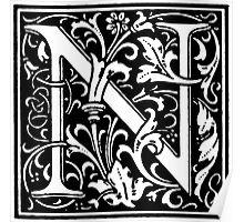 William Morris Renaissance Style Cloister Alphabet Letter N Poster