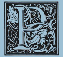 William Morris Renaissance Style Cloister Alphabet Letter P by Pixelchicken