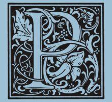 William Morris Renaissance Style Cloister Alphabet Letter P by Pixelchicken