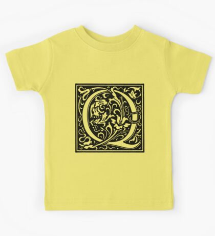 William Morris Renaissance Style Cloister Alphabet Letter Q Kids Tee