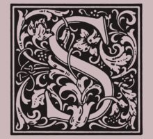 William Morris Renaissance Style Cloister Alphabet Letter S by Pixelchicken