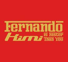 Fernando, Kimi is Faster Than You (Dark Shirts) Yellow Font by oawan