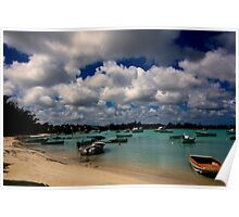 Panoramic view of Fishing boats on the sea at Grand Baie - Mauritius Poster