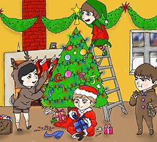the liverpool boys Christmas by jeanbeanart