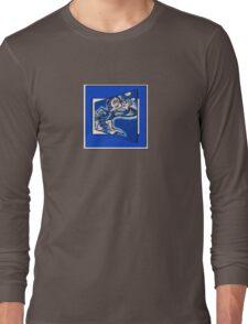 blue boy runnin' (square) (front) Long Sleeve T-Shirt