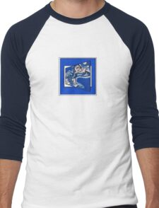 blue boy runnin' (square) (front) Men's Baseball ¾ T-Shirt