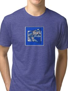 blue boy runnin' (square) (front) Tri-blend T-Shirt