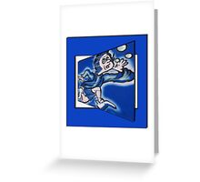 blue boy runnin' (square) (front) Greeting Card