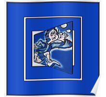 blue boy runnin' (sq full frame) Poster