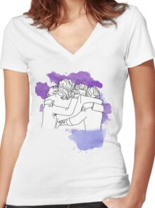 one direction last hug  Women's Fitted V-Neck T-Shirt