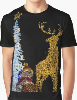 Deer with Snowman and Christmas Tree Decoration Lights Graphic T-Shirt