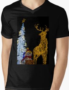 Deer with Snowman and Christmas Tree Decoration Lights Mens V-Neck T-Shirt