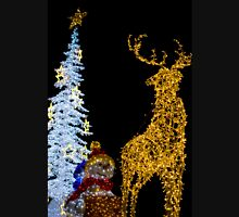 Deer with Snowman and Christmas Tree Decoration Lights Unisex T-Shirt