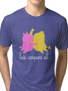love conquers all, mr pig and tree trunks Tri-blend T-Shirt