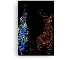 Deer with Snowman and Christmas Tree Decoration Lights Abstract Canvas Print
