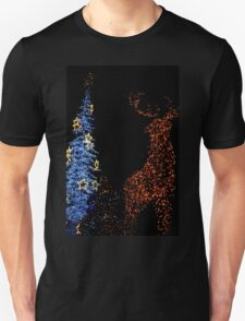 Deer with Snowman and Christmas Tree Decoration Lights Abstract Unisex T-Shirt