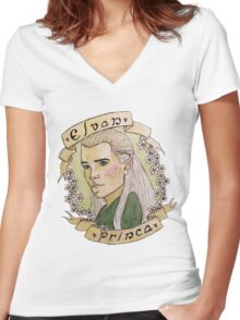 elven prince Women's Fitted V-Neck T-Shirt