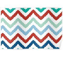 colorful ikat chevron pattern Poster