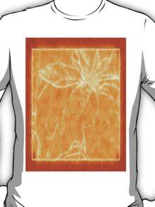 Mottled Red Poinsettia 1 Ephemeral Outlined Orange T-Shirt