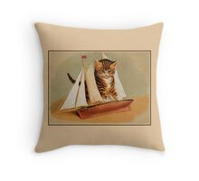 Cute victorian kitten, wooden toy boat Throw Pillow