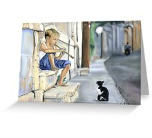 Boy playing flute for cat Greeting Card