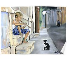 Boy playing flute for cat Poster